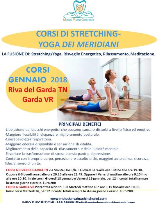 NUOVI CORSI DI STRETCHING/YOGA DEI MERIDIANI GENNAIO 2018. METODO MC