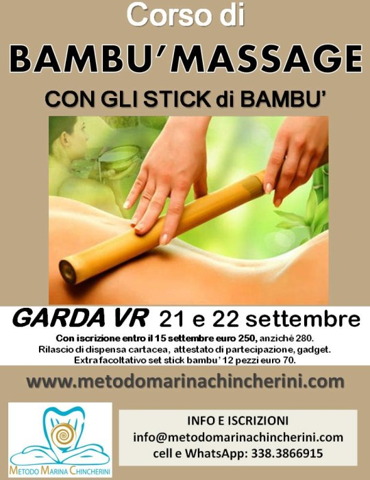 CORSO DI BAMBU' MASSAGE, SETTEMBRE, GARDA VR. METODO MC