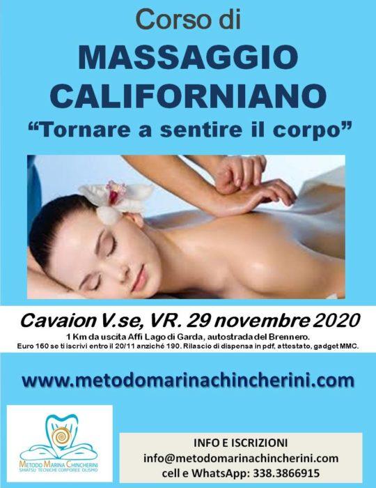 CORSO DI MASSAGGIO CALIFORNIANO. CAVAION LAGODI GARDA VR. MMC