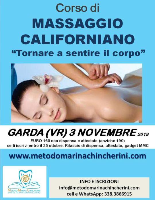 CORSO DI MASSAGGIO CALIFORNIANO, NOVEMBRE GARDA VR METODO MC