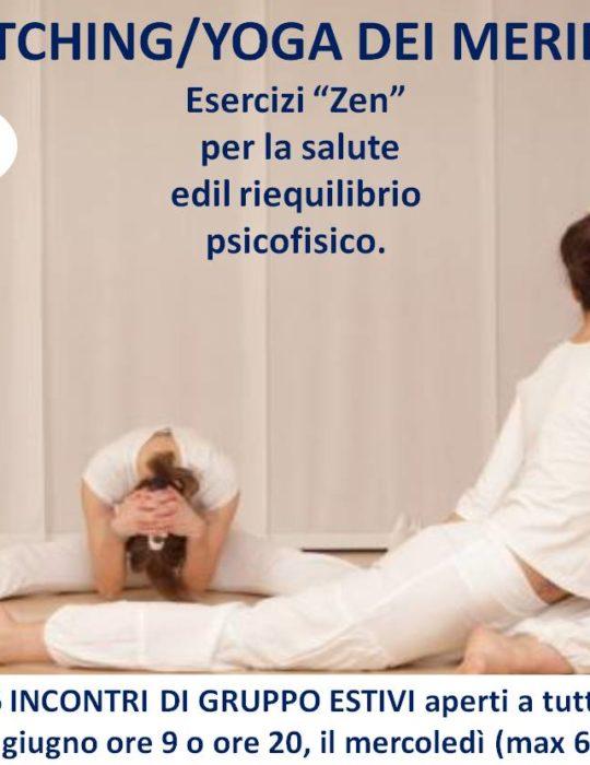 CORSO PRATICA ONLINE ESTIVO IN GRUPPO, 6 SESSIONI STRETCHING/YOGA DEI MERIDIANI.