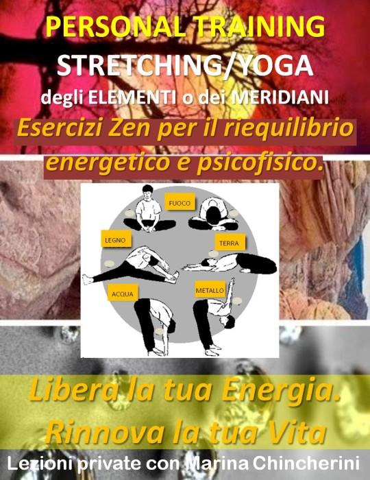 PERSONAL TRAINING DI STRETCHING/YOGA DEGLI ELEMENTI (O DEI MERIDIANI) MMC
